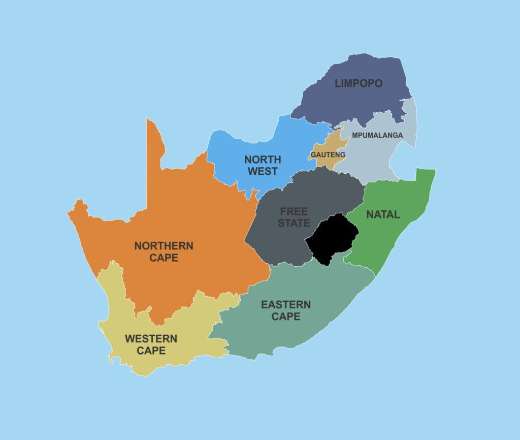 Hunt in South Africa showing Provinces
